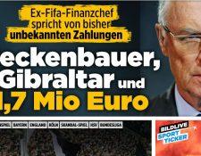 Esta es la portada del diario alemán Bild en su portal de internet donde se da a conocer la noticia de los pagos de Fifa a Beckenbauer. (Foto Prensa Libre: Sitio web diario Bild)