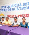 Integrantes de Codeca, durante la conferencia de prensa en Retalhuleu. (Foto Prensa Libre: Rolando Miranda)
