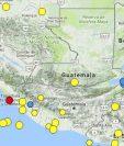 La marca roja indica la zona epicentral del sismo sensible en occidente y suroccidente. (Foto Prensa Libre: Conred)