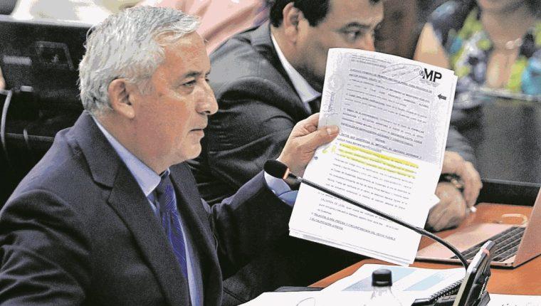 El expresidente Otto Pérez Molina durante una audiencia del caso La Línea. (Foto Prensa Libre: Hemeroteca PL).