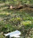 Solamente la cabeza y esqueleto de una res dejaron abandonados presuntos cuatreros en Olopa, Chiquimula. (Foto Prensa Libre: Edwin Paxtor).
