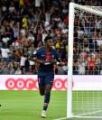 Timothy Weah anotó uno de los goles del PSG en el debut de la liga francesa. (Foto Prensa Libre: AFP)