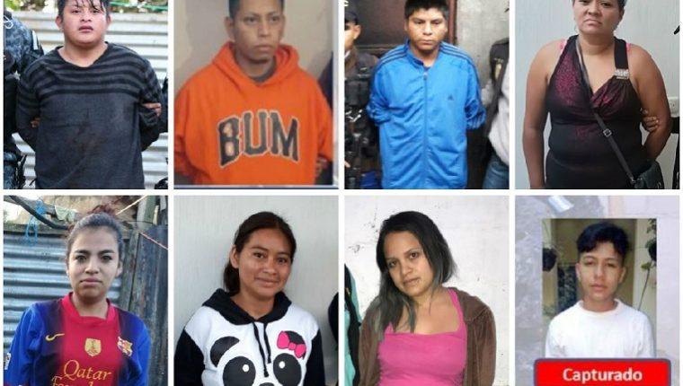 Los supuestos extorsionistas del Barrio 18 que fueron capturados. (Foto Prensa Libre: PNC)