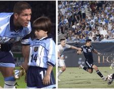 Giovanni Simeone recordó cuando ingresaba con su papá al campo y ahora debuta con la Albiceleste. (Foto Prensa Libre: Gio Simeone y AFA)