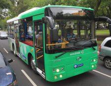 El primer bus totalmente eléctrico para servicio de transporte colectivo, ya esta en Guatemala, los distribuirá la empresa Luka Electric. (Foto, Prensa Libre, Estuardo Paredes)