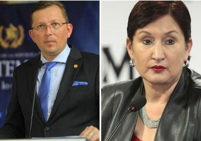 Heinz Heimann, portavoz de la presidencia y Thelma Aldana, fiscal general del Ministerio Público. (Foto Prensa Libre: Hemeroteca PL)