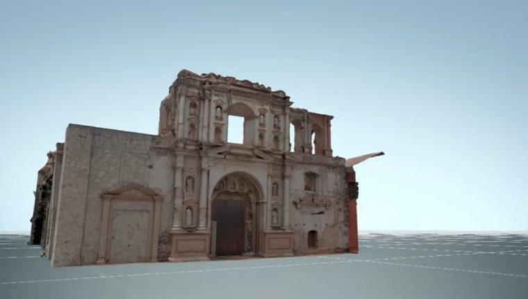 Vista en 3D de la Iglesia de la Compañía de Jesús en Antigua Guatemala. (Foto Prensa Libre: YouTube)