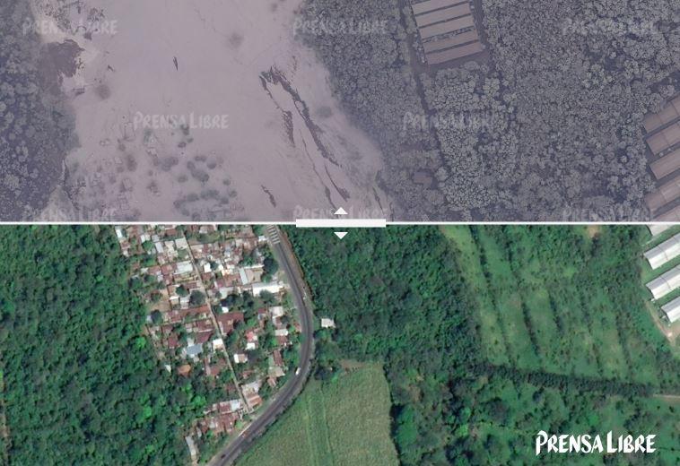 Tomas con dron permiten comparar el antes y después de seis áreas dañas por la explosión del Volcán de Fuego.