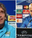 Manuel Pellegrini del Manchester City y Zinedine Zidane del Real Madrid, son los técnicos que dirigirán la primera semifinal de la Champions. (Foto Prensa Libre: EFE y Hemeroteca)