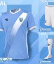 Este es el uniforme que usará la Selección Nacional en su primer juego, después de una prolongada ausencia en el plano internacional por una letal suspensión de la Fifa (Foto Prensa Libre: tomada de internet)