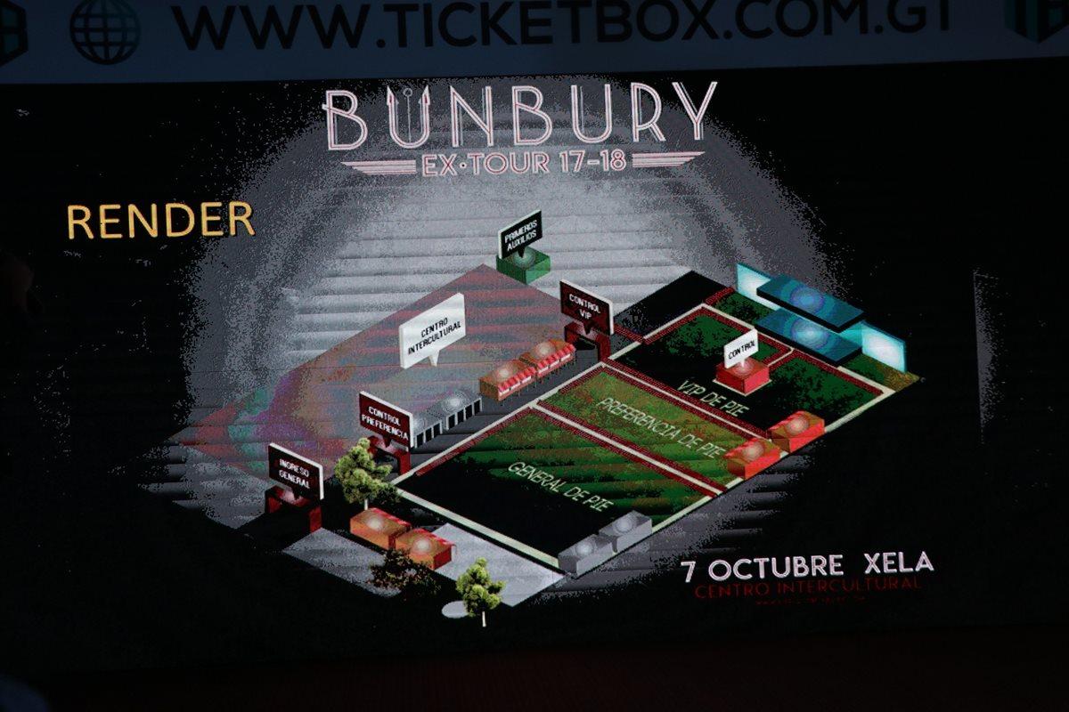 Así estarán distribuidos los espacios en el Centro Intercultural para el concierto de Enrrique Bunbury en Xela. (Foto Prensa Libre: María José Longo)