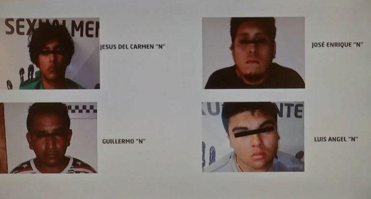 Los cuatros detenidos señalados de haber participado en el crimen de Valeria Cruz. (Foto Prensa Libre: Facebook/Miguel Ángel Yunes Linares).
