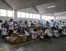 En medio de la tragedia, miles de personas se han movilizado para ayudar como voluntarios en los centros de acopio para los damnificados por la erupción del Volcán de Fuego. (Foto Prensa Libre: Anna Lucía Ibarra).