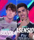 Casemiro junto Odriozola y Asensio con Carvajal se disputan la Copa de la Champions en videojuego.