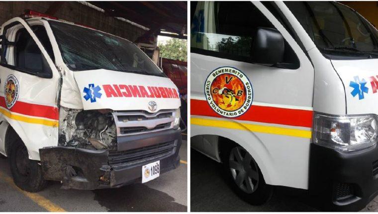 La ambulancia que se dañó cuando se atendía una llamada de falsa alarma fue reparada de forma gratuita. (Foto Prensa Libre: Bomberos Voluntarios)