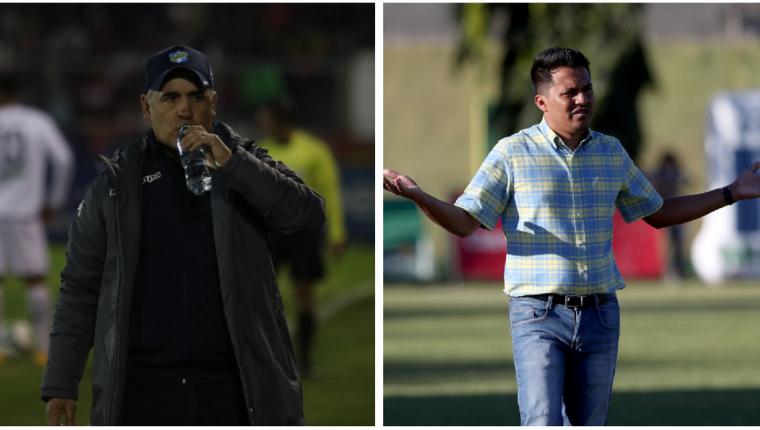 Los entrenadores Willy Coito Olivera y Amarini Villatoro se enfrentarán por primera vez en una final del futbol guatemalteco. (Foto Prensa Libre: Raúl Juárez y Carlos Vicente)