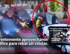 Los delincuentes fueron captados en la zona 2 de la capital, cuando aprovechan la lluvia y el tráfico para asaltar a un automovilista. (Foto Prensa Libre: Cortesía)