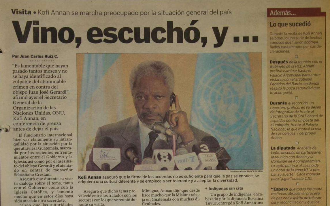Kofi Annan estuvo en Guatemala hace 20 años