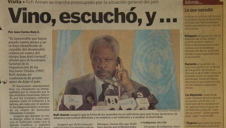 Kofi Annan, visitó Guatemala en 1998, como secretario general de la ONU. (Foto Prensa Libre: Hemeroteca PL)