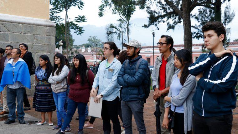 Universitarios de Sacatepéquez rechazan las decisiones tomadas por el Gobierno de Jimmy Morales en contra de la Cicig y su comisionado. (Foto Prensa Libre: Julio Sicán)