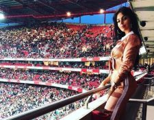 Georgina Rodríguez, novia de Cristiano Ronaldo, en el estadio Da Luz de Lisboa. (Foto Prensa Libre: Instagram @georginagio)
