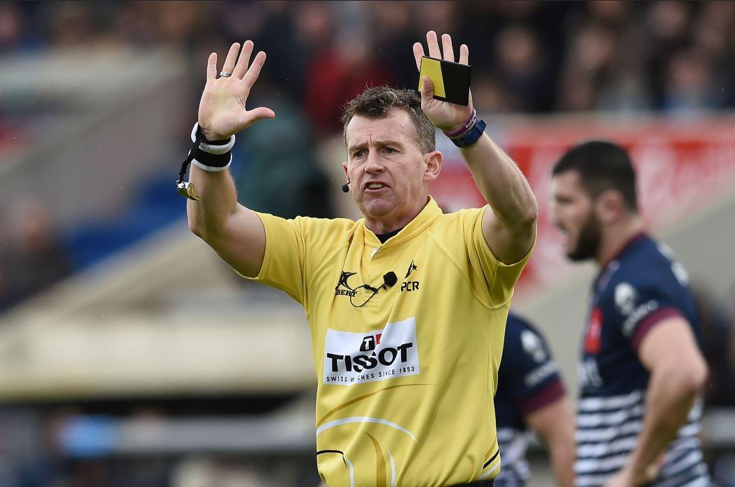 Nigel Owens durante el mundial de Rugby. (Foto Prensa Libre: AFP)