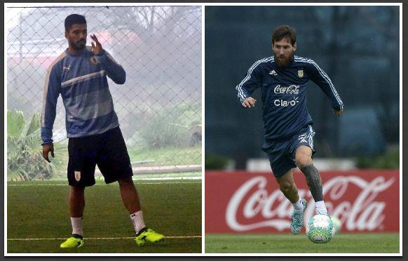 Luis Suárez y Lionel Messi tendrán que dejar a un lado su amistad al salir a la cancha en el clásico del Río de la Plata. (Foto Prensa Libre: Twitter y AFP)