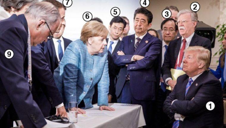 Una fotografía publicada en la cuenta de Instagram de la canciller alemana, Angela Merkel, da cuenta de la tensión existente en la Cumbre del G7. (Foto Prensa Libre: Instagram @bundeskanzlerin)