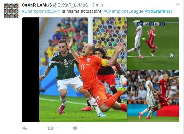 Las redes se burlan del clavado de Arjen Robben