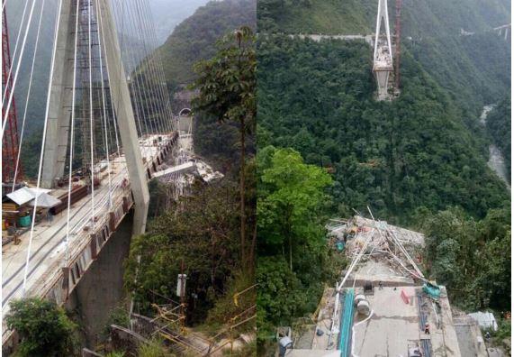 Es puente se fue al vacío repentinamente, dijeron testigos. (Foto: Twitter - Noticias RCN)