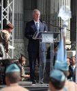 El alcalde capitalino, Álvaro Arzú, dio este domingo un polémico discurso en la Plaza de la Constitución. (Foto Prensa Libre: Érick Ávila)