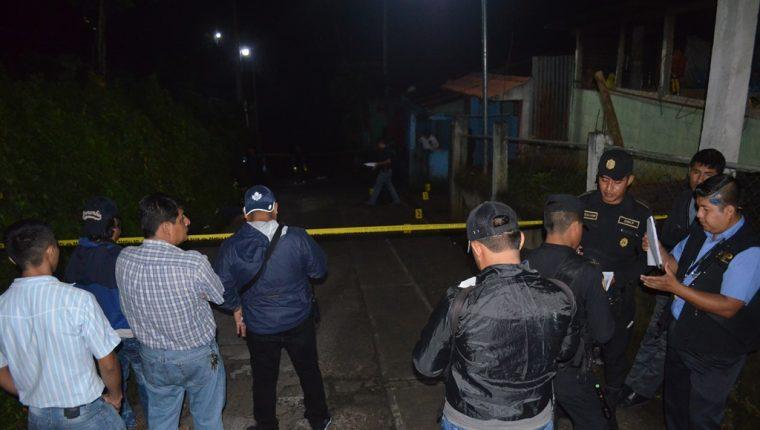 Lugar donde se registró el crimen en El Asintal, Retalhuleu. (Foto Prensa Libre: Jorge Tizol).