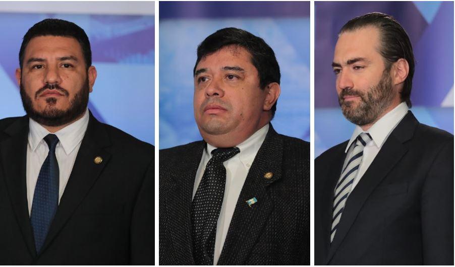 Alonzo Vargas, Obregón Muñoz y Valladares Urruela fueron juramentados como ministros de Ambiente, Mides y de Economía, respectivamente. (Foto Prensa Libre: Álvaro Interiano)