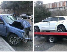 Vehículos implicados en el accidente ocurrido en zona 10. (Foto Prensa Libre: Estuardo Paredes)