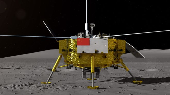 """La sonda Chang'e 4 de la Administración Nacional Espacial de China es la primera que aluniza en el """"lado oscuro"""" de nuestro satélite. CNSA"""