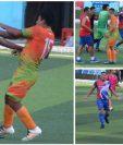 Estas son algunas de las imágenes de la trifulca entre los jugadores de Cahabón y Rabinal al final del partido. (Foto Prensa Libre: Facebook)