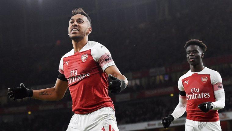 Pierre Emerick Aubameyang fue letal en la victoria del Arsenal. (Foto Prensa Libre: EFE)