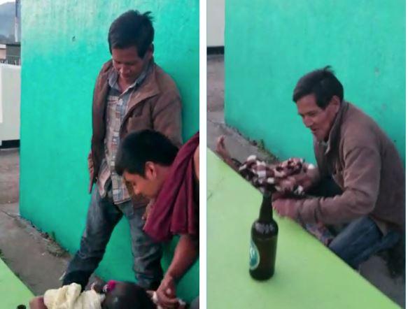 Estos hombres son grabados mientras ultrajan a una mujer en el cementerio de Uspantán, Quiché. (Foto Prensa Libre: Héctor Cordero)