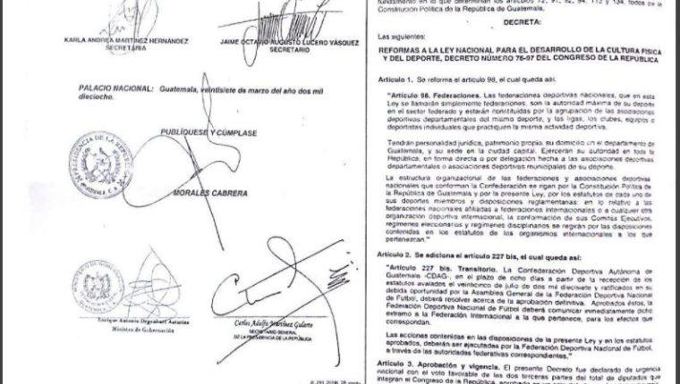 Las reformas a la Ley del Deporte fueron publicadas hoy en el Diario Oficial. (Foto Prensa Libre: Edwin Fajardo)