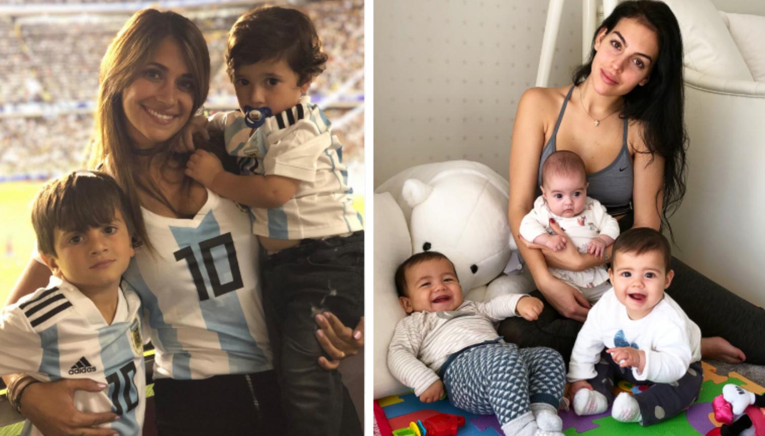 Antonella Roccuzzo y Georgina Rodríguez comparten con sus hijos. (Foto Prensa Libre: Instagram)