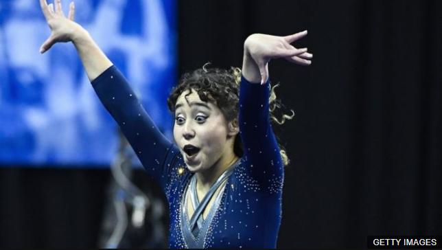 Katelyn Ohashi participando en una competencia en 2018. (Foto Prensa Libre: BBC News Mundo)