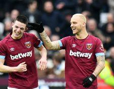Así festejaron los jugadores del West Ham United, frente al Arsenal. (Foto Prensa Libre: EFE)