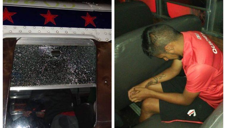 Ventanilla del sillón dónde viajaba el jugador fue apedreada lesionando a Boby Tally. (Foto Prensa Libre: Héctor Cordero)