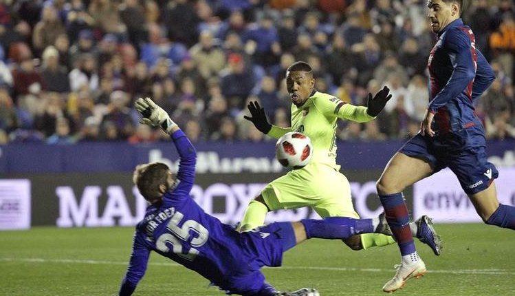 El Levante superó al Barcelona en la ida de los octavos de final de la Copa del Rey.