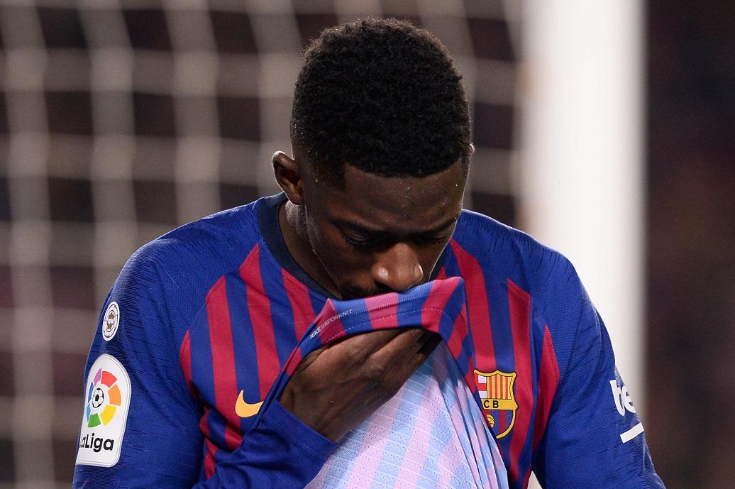 El delantero francés Ousmane Dembélé estará de baja quince días. (Foto Prensa Libre: AFP)