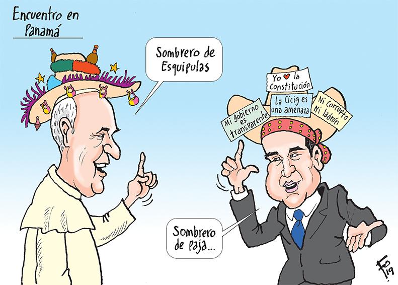 Personajes: Papa Francisco y Jimmy Morales.