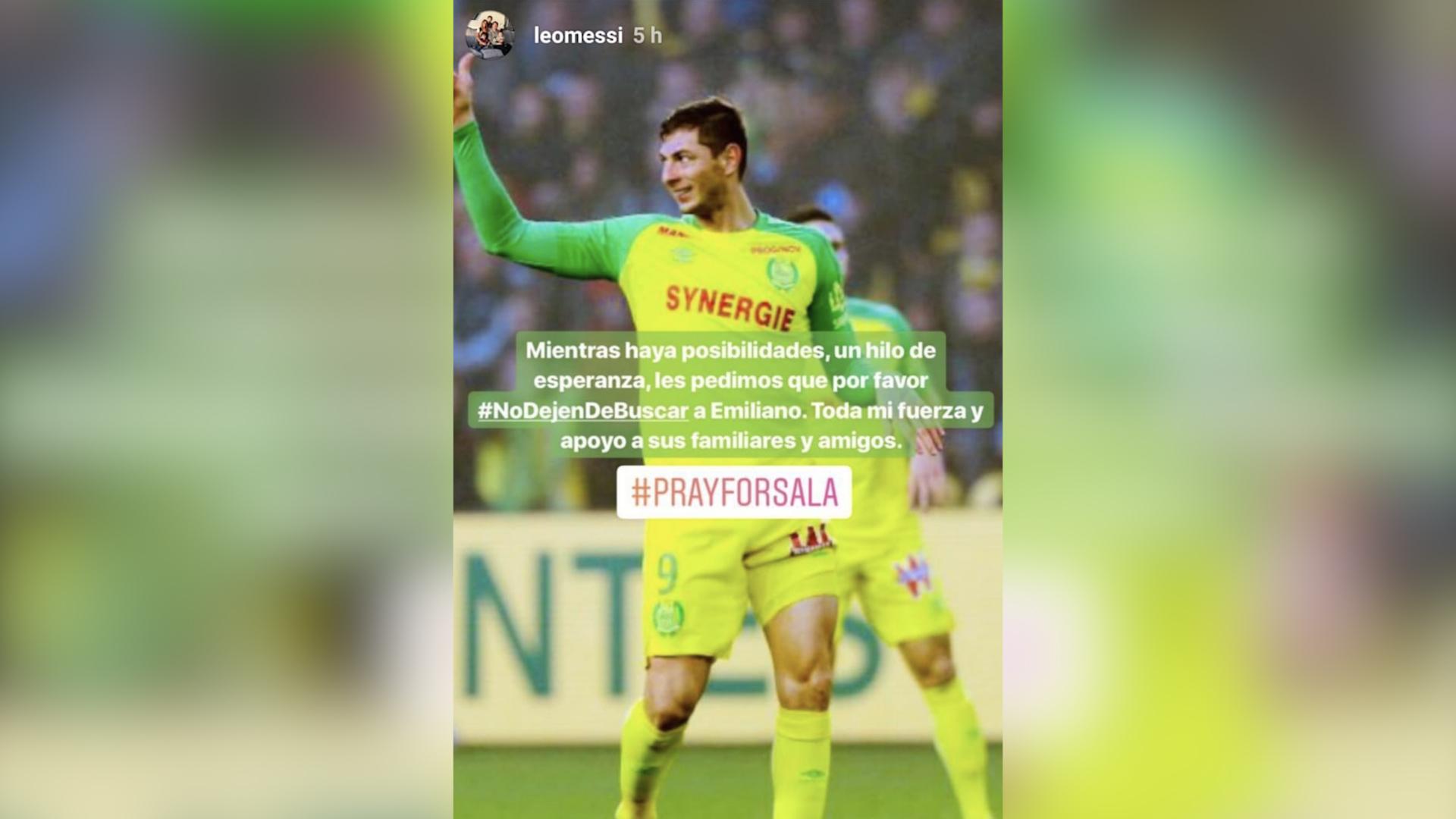 Este fue el mensaje que Lionel Messi publicó en sus historias de Instagram. Messi pide que no dejen de buscar a Emiliano Sala. (Foto Prensa Libre: @leomessi)