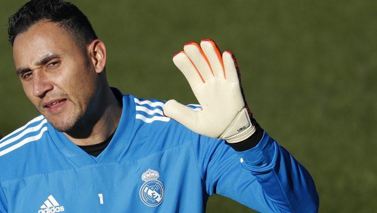 El portero costarricense del Real Madrid Keylor Navas, durante el entrenamiento en la Ciudad Deportiva de Valdebebas. (Foto Prensa Libre: EFE)