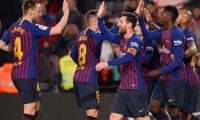 Barcelona's French forward Ousmane Dembele (2R) celebrates his second goal with teammates during the Spain's Copa del Rey (King's Cup) round of 16 second leg football match between FC Barcelona and Levante UD, at the Camp Nou stadium in Barcelona on January 17, 2019. (Photo by Josep LAGO / AFP)