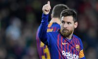 Barcelona's Argentinian forward Lionel Messi celebrates his goal during the Spanish League football match between FC Barcelona and SD Eibar at the Camp Nou stadium in Barcelona on January 13, 2019. (Photo by LLUIS GENE / AFP)
